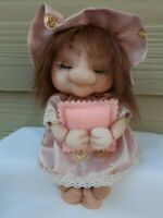 "OOAK Handmade Soft Sculpture nylon 8"" doll with felt pillow, synthetic hair. NEW"