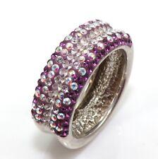 6.8gr of Sterling Silver & Purple Amethyst CZ Rhinestone Band Ring Size 8 ZP