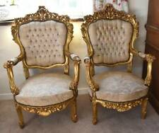 Pair of French Baroque style throne chairs large wedding gold king queen vintage