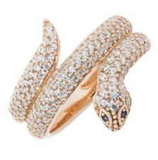 ISAAC WESTMAN Rose Gold Plated 925 Sterling Silver Snake Fashion Ring With...