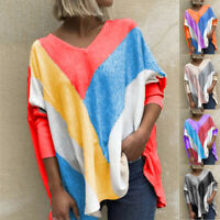 Women Casual Long Sleeve Colorblock T Shirt Blouse Loose Pullover V-Neck Tops