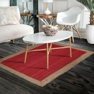 Rug 100% Jute Rectangle Natural Braided Floor Mat Handmade Reversible Runner Rug