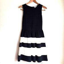 Bar III Fit and Flare Dress Size M Bold Black and White Stripes Pleats