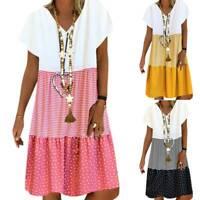 Womens Casual Short Sleeve Color Block Dot Striped Comfy Shirt Dress Plus Size