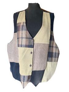 Women's Vntg Size 3x Button Front Vest Tan Zara Patchwork Wool, Leather & Cotton