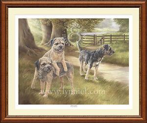 BORDER TERRIERS ltd edition fine art dog print 'Border Patrol' by Lynn Paterson