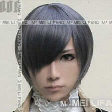 Black Butler Kuroshitsuji Ciel Short Black/Gray Cosplay Wig