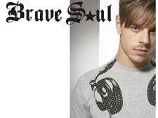 Brave Soul Hombre Talla L Gris Auriculares Negro Estampada Camiseta