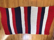 "Handmade Crochet Afghan Quilt Bed Afghan Sofa Blanket 104"" X 59 Red White Blue"