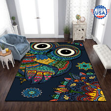 Rug For Living Room - Owl Hippie Style Area Rug Best Decor Floor Fashion Carpet