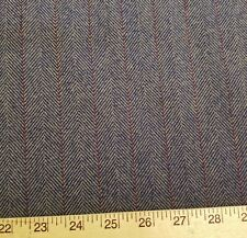 Indigo and Cream Herringbone w/ Burgundy Pinstripe Heavy Wool Suiting/Jacketing
