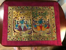 Woven colorful silk tapestry with Asian ladies