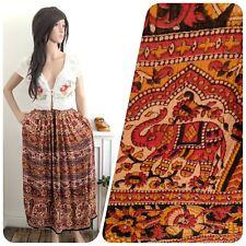 Vintage 70s 90s Elephant Floral Boho Indian Block Print Maxi Skirt Boho 10 12