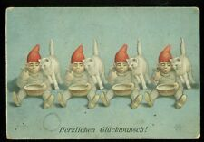 OLD GERMAN HOLIDAYS GREETINGS CARD 4 DRARFS 4 CATS LITHO 1894