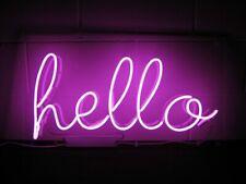 """Hello Pink Neon Sign Beer Bar Gift 14""""x7"""" Light Lamp Bedroom"""