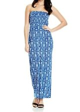 Plus Size Ladies Dress, Elastic Upper Body, Nice & Stretchy,Blue & White Size 22