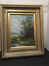 ANTIQUE 1890's OIL PAINTING of a Meadow signed LISA 20 x 24