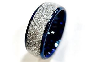 Blue Meteorite Inlay Tungsten Wedding Bands, Mens Women Tungsten Rings 4mm-8mm