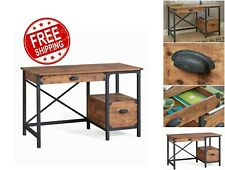 Rustic Desk Industrial Computer Workstation Country Writing Table Office NEW