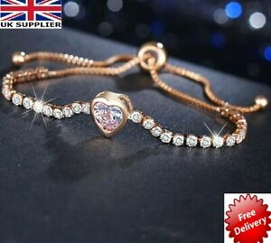 ROSE GOLD FILLED HEART TENNIS BRACELET Made With CRYSTALS RHINESTONE ADJUSTABLE