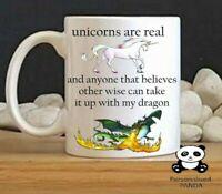 personalised, unicorn, novelty Funny mug birthday, dragon, secret santa gift