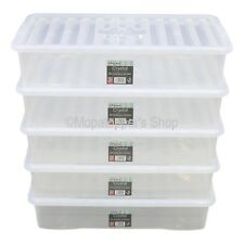 5 x Large British Made 42 Litre Clear Plastic Underbed Storage Boxes Box & Lids