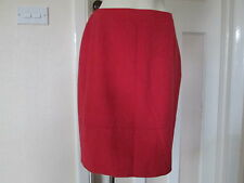 Kaliko. Red Skirt, Wool with Silk, Knee length Size 14, Euro 40 Brand New