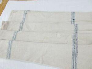 Vtg Antique DOUBLE BLUE STRIPE French HEMP LINEN Fabric FEEDSACK GRAIN BAG 25X45