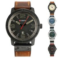 CURREN Luxury Men Leather Military Watches Calendar Dial Date Quartz Wrist Watch