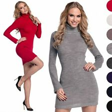 Glamour Empire. Women's Stretch Warm Polo Turtle Roll Neck Knitted Dress. 888