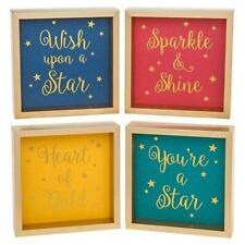 Sentiment Happy Message Box Wall Plaques Set of 4
