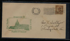 US Roosevelt  inauguration cover  green cachet  1933    APL1120
