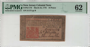 MARCH 25 1776 NEW JERSEY COLONIAL NOTE 18 PENCE NJ-176 PMG UNCIRCULATED 62 (014)