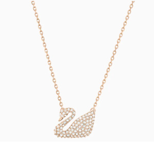Authentic Swarovski Sparkle Crystal Iconic Swan Pendant Necklace Rose-Gold