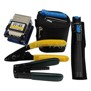 Hot 4 in1 FTTH Splice Fiber Optic Tool Kits Fibre Stripping +FC-6S Fiber Cleaver