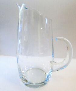 Vintage ETCHED GLASS PITCHER Slant Top Ruffled Spout Open Handle Floral
