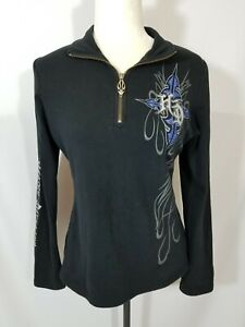 Harley-Davidson Black Blue Womens Jeweled 1/4 Zip Pullover Shirt Size Small