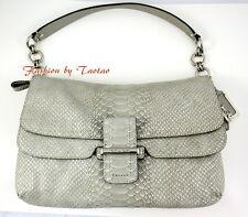 Coach 23430 Madison Pinnacle EMBOSSED Metallic Python Flap Shoulder Bag Silver