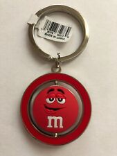 M&M's World Red Character Big Face PVC Spinning Keychain New with Tag