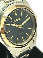 Seiko Solar Women's SUT110 Two Tone Watch Day Date Blue Dial FOR REPAIR PARTS