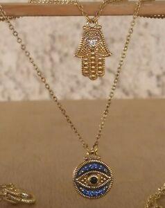 "Judith Ripka Double Layered ""Evil Eye & Hamsa"" Necklace Blue And Black Sapphires"