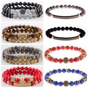 2PCS/Set Luxury Micro Pave CZ Balls Crown Charm Natural Stone Women Men Bracelet