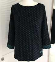 Laura Ashley Spotted 3/4 Sleeve T-Shirt Polka Dot Thick Top Navy Autumn Size 12