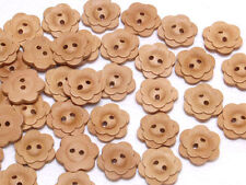 B454 Wooden Carved Flower Wood Buttons Sewing Craft Art DIY 17mm 50Pcs