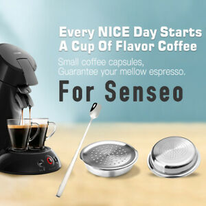 2x Refillable Coffee Capsule Pods Stainless Filters For Philips Senseo HD7810