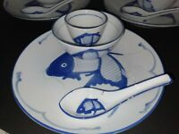 MADE IN CHINA CHINESE KOI FISH CARP BLUE WHITE PORCELAIN SET OF OF (12)