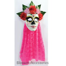A968 Day Of The Dead Mask Pink Veil Senorita Mexican Halloween Costume Accessory