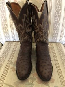 Men's Lucchese 1883 Brown Full Quill Ostrich Cowboy Western Boots / Size 10.5 D