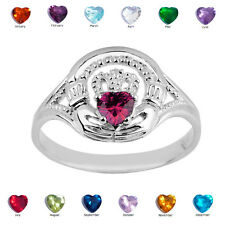 925 Sterling Silver Ladies Claddagh Alexandrite June CZ Birthstone Ring