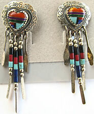 "sterling silver stamped heart earrings, beaded dangles, 2 1/4"", multi gem inlay"